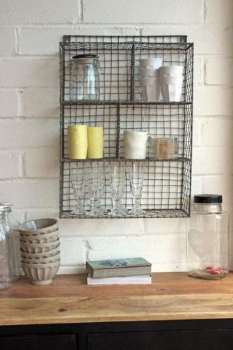 Wall Mounted Wire Storage Shelving Unit in Zinc